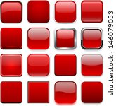 Set Of Blank Red Square Button...