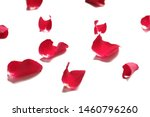 Stock photo blurred a pile of sweet red rose corollas on white isolated background 1460796260