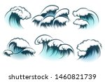 hand drawn ocean or sea waves... | Shutterstock .eps vector #1460821739