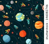 seamless space pattern. planets ... | Shutterstock .eps vector #146082746
