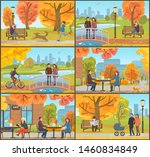cafe and customers autumn park  ... | Shutterstock . vector #1460834849