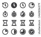 time and clock glyph vector...