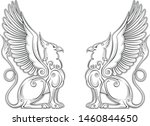 royal heraldry gryphon mythical ... | Shutterstock .eps vector #1460844650