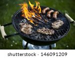 grilling at summer weekend  | Shutterstock . vector #146091209