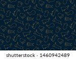 Stock vector hand drawn seamless vector pattern with cute rabbits gold on a dark blue background design 1460942489