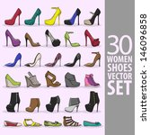 30 Women Shoes Vector Set