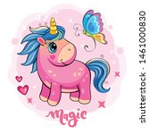 cartoon pink unicorn with a... | Shutterstock . vector #1461000830