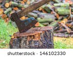 old fashioned axe in the stump  | Shutterstock . vector #146102330