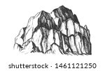 Peak Of Rocky Mountain Landscape Vintage . Mountain Large Landform Rises Above Surrounding Land In Limited Area. Pencil Designed Slope Clift Template Black And White Illustration