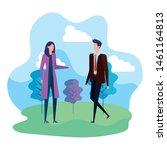 businesswoman and businessman...   Shutterstock .eps vector #1461164813