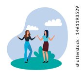 young girls friends celebrating ...   Shutterstock .eps vector #1461193529