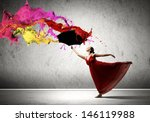 ballet dancer in flying satin... | Shutterstock . vector #146119988