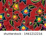 seamless pattern with floral...   Shutterstock .eps vector #1461212216