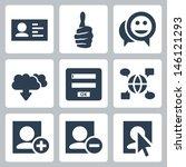 vector social network icons set | Shutterstock .eps vector #146121293