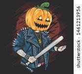 pumpkin head rocker gengster... | Shutterstock .eps vector #1461213956