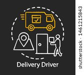 Delivery driver chalk icon. Service worker. Courier shipping parcel to door. Express shipment, distribution. Delivery vehicle, truck. Cargo shipping. Isolated vector chalkboard illustration - stock vector