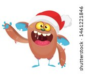 Stock photo cartoon green funny yeti bigfoot in santa claus hat christmas or new year illustration 1461221846