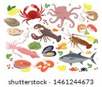 seafood big collection of... | Shutterstock .eps vector #1461244673