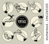 set of round icons in vintage... | Shutterstock .eps vector #1461265103