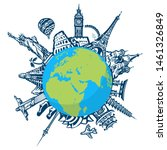 famous world landmarks located...   Shutterstock .eps vector #1461326849