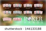 poker hand rankings symbol set  | Shutterstock .eps vector #146133188