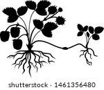 black silhouette of strawberry...   Shutterstock .eps vector #1461356480