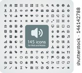 Set of 145 quality icons for Web and Mobile. Fitted to the pixel grid 16x16. Media, computers, shopping, travel, business, navigation, service