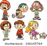 cute cartoon kids. vector... | Shutterstock .eps vector #146145764