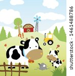 farmfield with cute animals... | Shutterstock .eps vector #1461488786