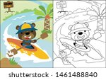 Vector Cartoon Funny Bear On...