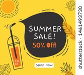 summer sale banner design with... | Shutterstock .eps vector #1461493730