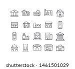 premium set of buildings line... | Shutterstock .eps vector #1461501029