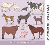 farm animals vector set | Shutterstock .eps vector #146154236