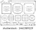 vintage vector set. floral... | Shutterstock .eps vector #1461589229