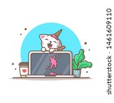 Stock vector cute cat eat ice cream on laptop with coffee and plant vector illustration office icon workdesk 1461609110