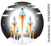 picture of rocket flying above... | Shutterstock .eps vector #1461685409