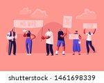protesting people with placards ... | Shutterstock .eps vector #1461698339