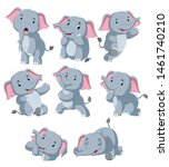collection of happy elephant... | Shutterstock .eps vector #1461740210