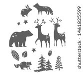 Forest Animals Silhouettes Ove...