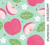 seamless pattern. red apple... | Shutterstock .eps vector #1461828299