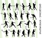 tennis players silhouettes... | Shutterstock .eps vector #146185160