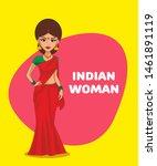 indian woman cartoon character. ... | Shutterstock .eps vector #1461891119