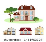 set of four country houses with ... | Shutterstock .eps vector #1461963329