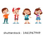 illustration of kids happily... | Shutterstock .eps vector #1461967949