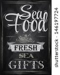 poster lettering sea food fresh ... | Shutterstock . vector #146197724