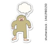 Stock photo cartoon bigfoot with thought bubble as a printed sticker 1461980150