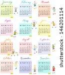 2014 full calendar design with... | Shutterstock .eps vector #146201114