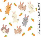 Stock vector the seamless of cute rabbit and carrot in the background the cute rabbit playing with corrot the 1462114379