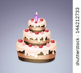 cake with chokolate and cream ... | Shutterstock .eps vector #146212733