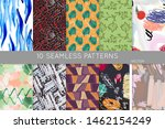 collection of seamless patterns.... | Shutterstock .eps vector #1462154249